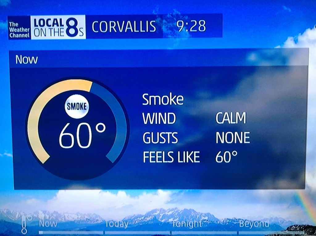smoke shown as current Corvallis weather by Weather Channel Aug. 23, 2015 9:28AM