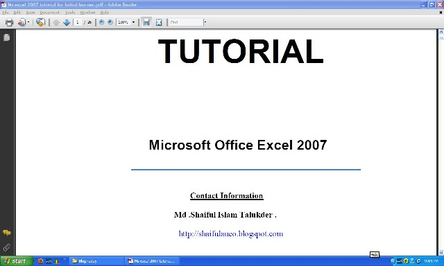 excel 2007 tutorial for beginners pdf