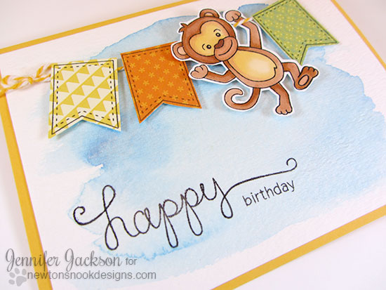Monkey Card by Jennifer Jackson | Hanging Around Stamp Set | Newton's Nook Designs