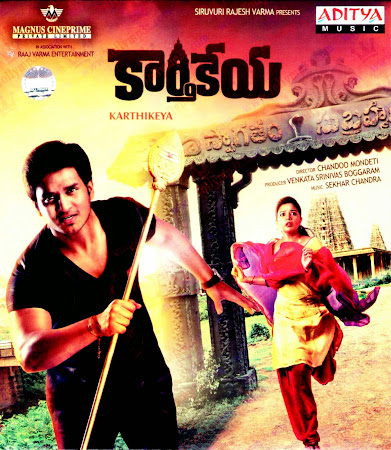 Poster Of Karthikeya In Dual Audio Hindi Telugu 300MB Compressed Small Size Pc Movie Free Download Only At worldfree4u.com