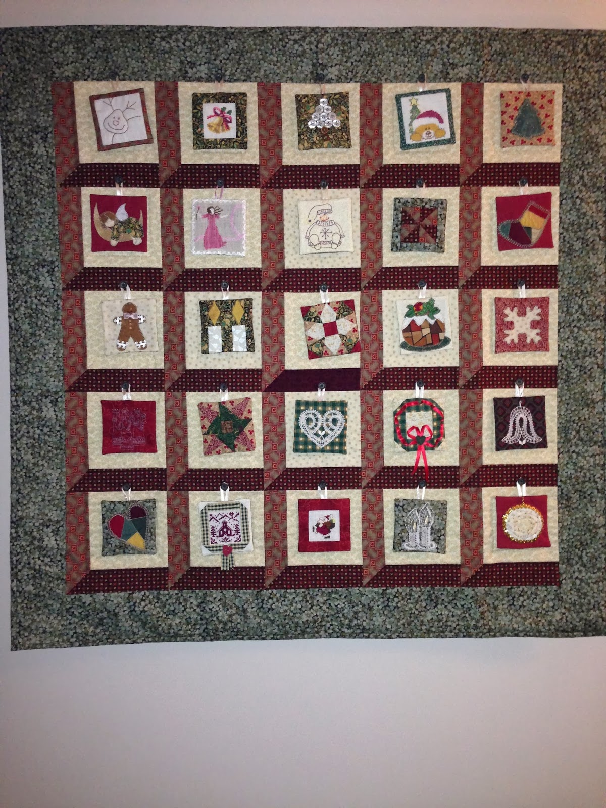 Stitched Memories in Time The Mystery of Christmas Advent quilt