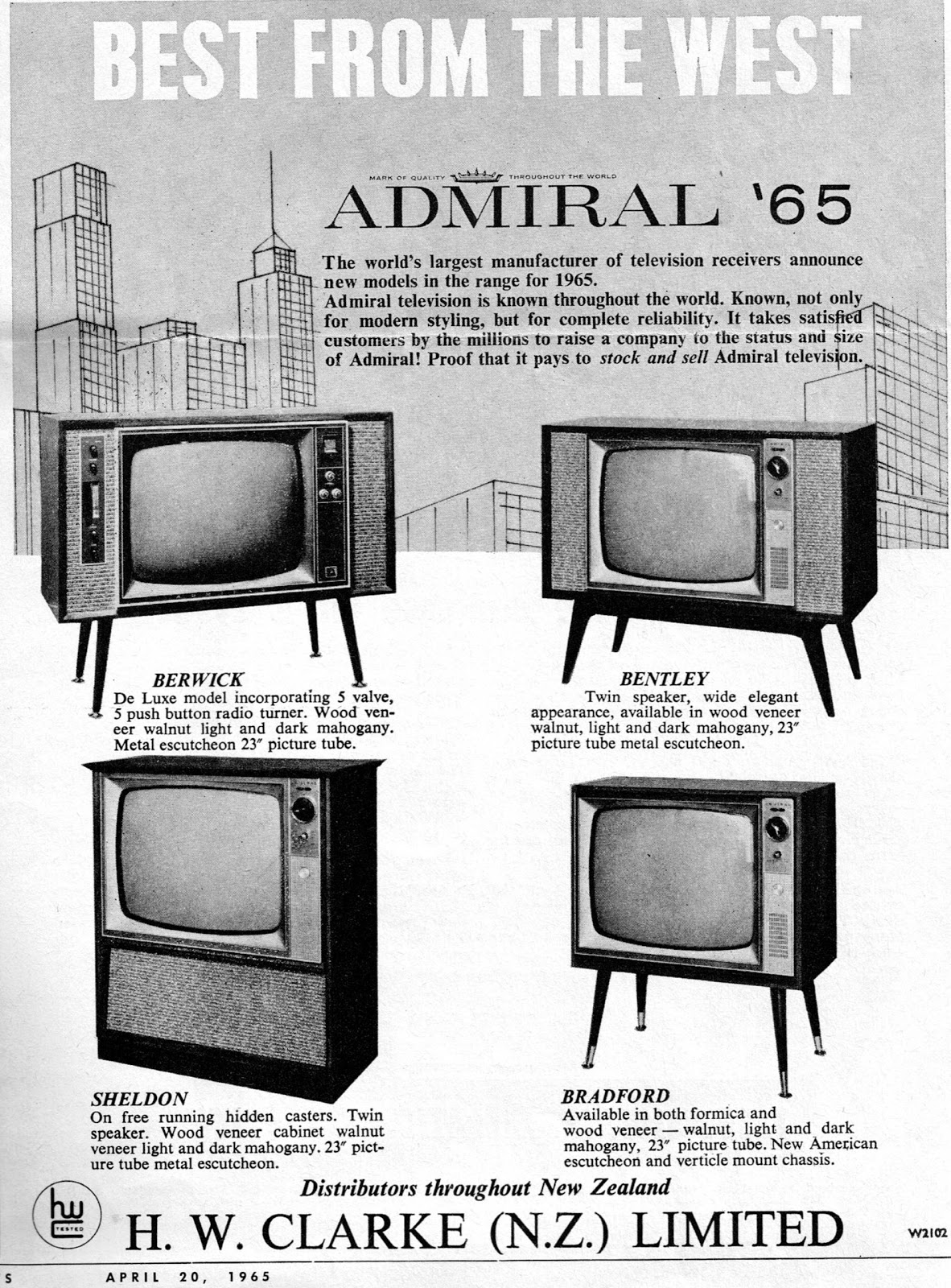 Nz Vintage Tv Radio Black And White Tv Advertisingbrochures
