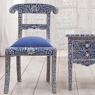Etonnant Blue Flower Design Bone Inlay Chair