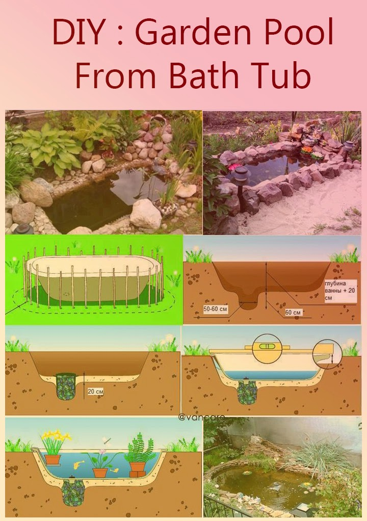 Diy garden pool from a bath tub pictures photos and for Diy garden pool
