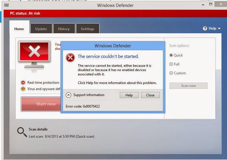 Исправление ошибки 0x80070422 службе не мог быть к работе в ОС Windows Defe