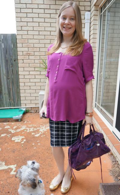 Purple top and bag asos neutral tartan pencil skirt