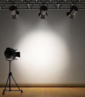Picture of a spotlight on a grey wall
