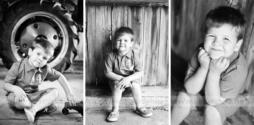 black and white photos of little boy in barn - Terre Haute photographer