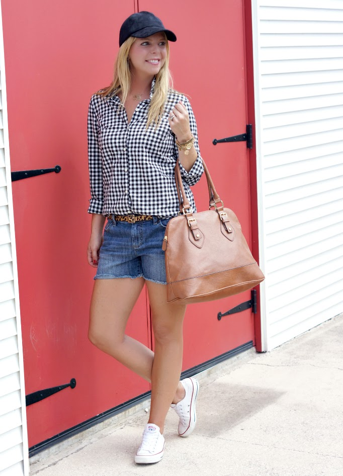 gingham and leopard pattern mixing