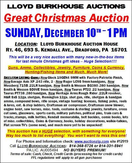 12-10 Christmas Auction, Bradford, PA