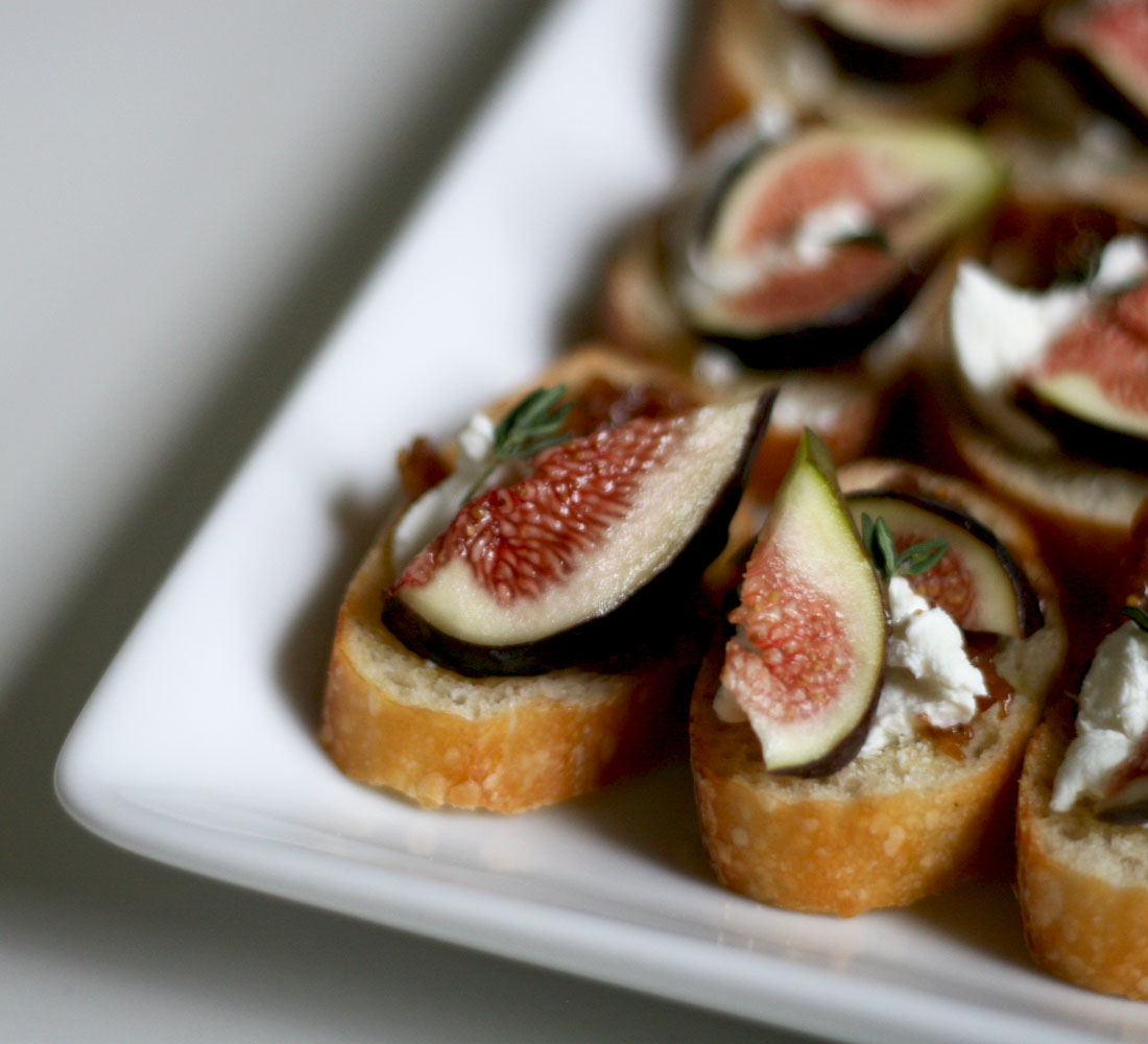made these sweet little fig and goat cheese crostinis , via gourmet ...