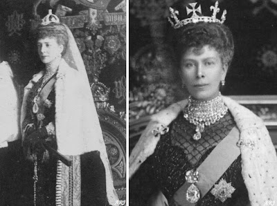 Queen Alexandra (left) and Queen Mary (right) wearing Cullinans I and II as a brooch