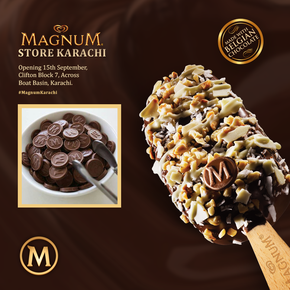 Magnum Store Karachi - ad showing toppings that arent actually available in store