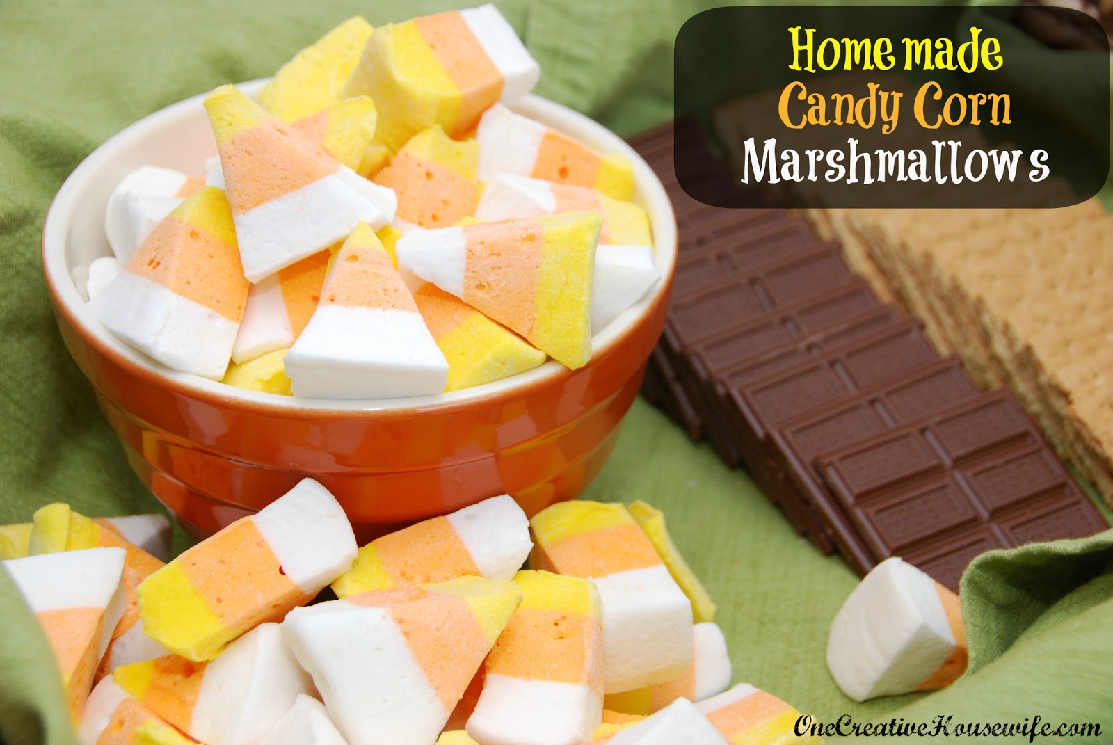 One Creative Housewife: Homemade Candy Corn Marshmallows & S'Mores