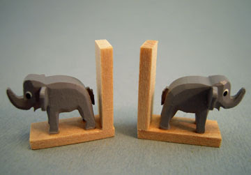 miniature bookends, wooden, with elephants