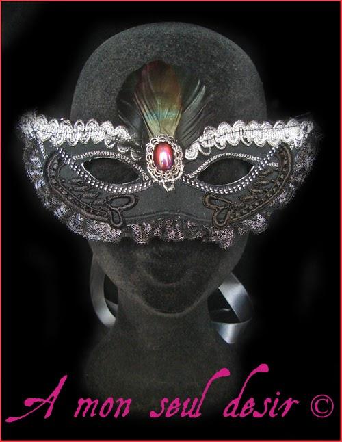 Masque Loup Dentelle Noir Carnaval Venise Gothique Victorien Plumes Mascarade Victorian Gothic Goth Gothik Black Lace Mask Feathers