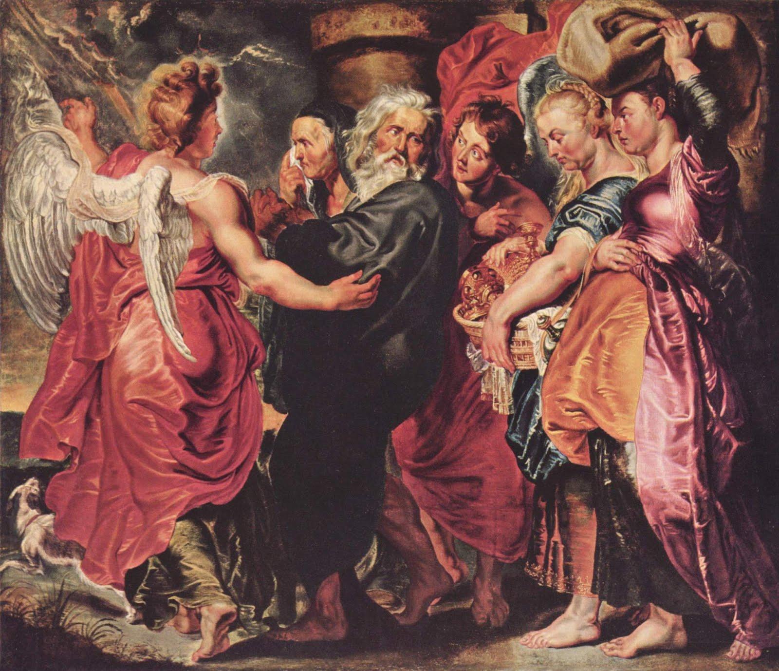 Lot fugge da Sodoma con la sua famiglia di Pieter Paul Rubens
