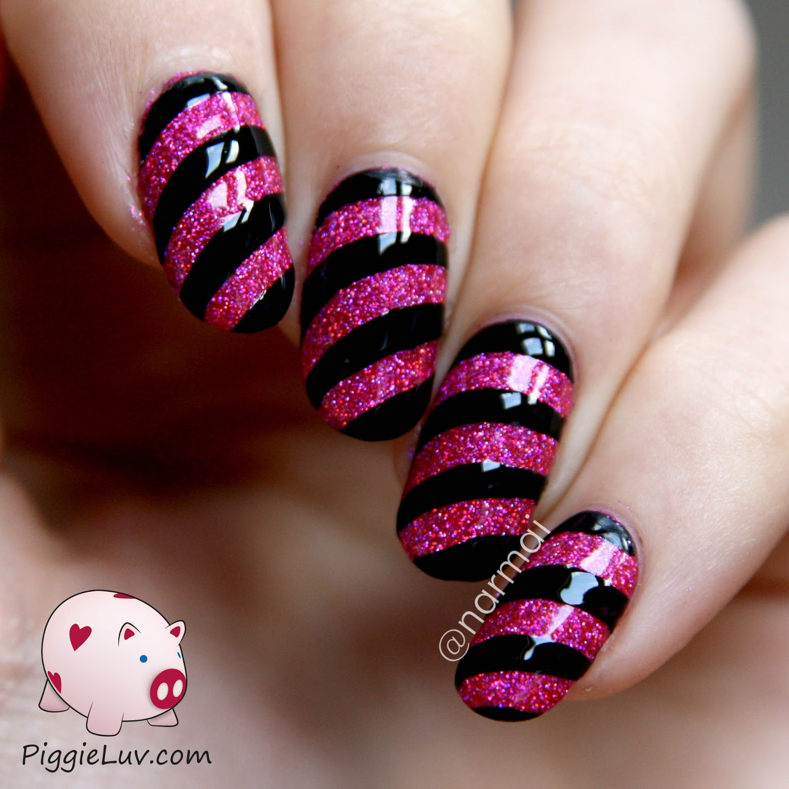 Girly Nail Art: PiggieLuv: Sparkly Nails With Girly Bits Razzle Dazzle And