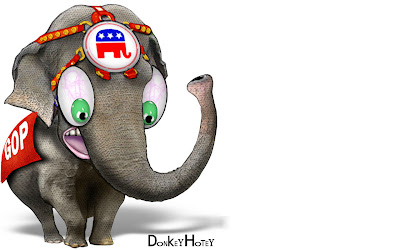 caricature of frightened Republican elephant