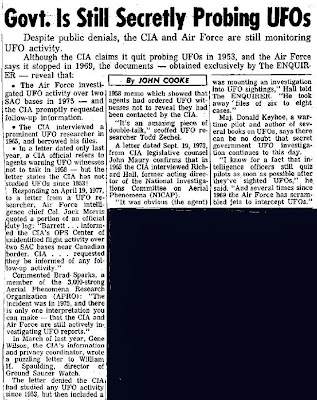 Govt. is Secretly Probing UFOs - The National Enquirer 7-12-1977
