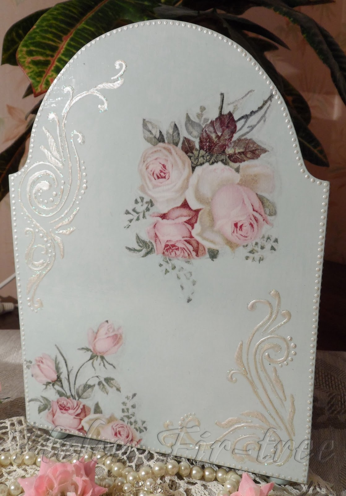 Helen Fir-tree декупаж комод розы decoupage commode roses