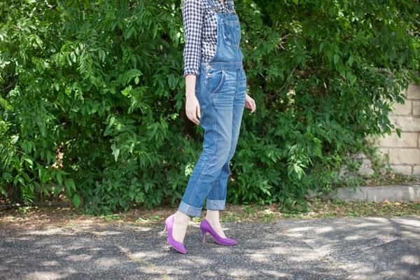 overalls and heels