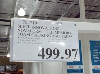 Memory Foam Mattress King size Item 705719 at Costco