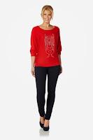 Bluza moderna, de culoare rosie, cu imprimeu tineresc ( )