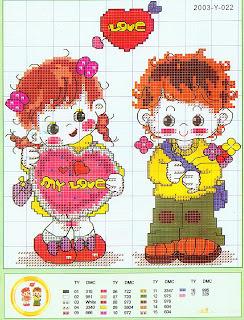 Gráficos para bordado de meninas e meninos
