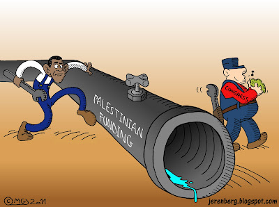obama congress pipe wrenches faucet plumbing plumbers palestinian authority funding dry up dried up trickle water liquid whistling clean hands with rag