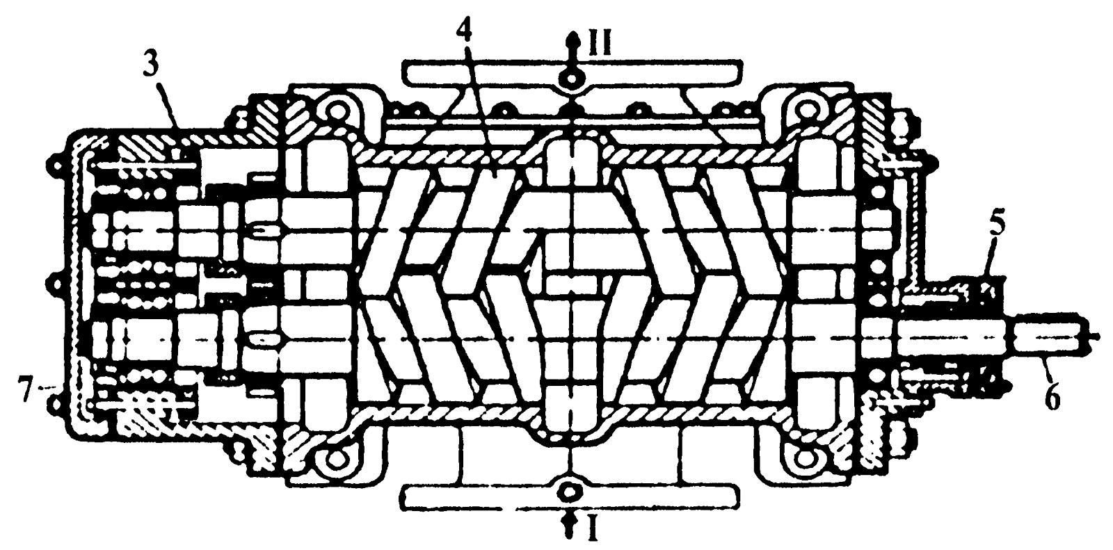 схема с размерами ротора и статора пластинчатого насоса