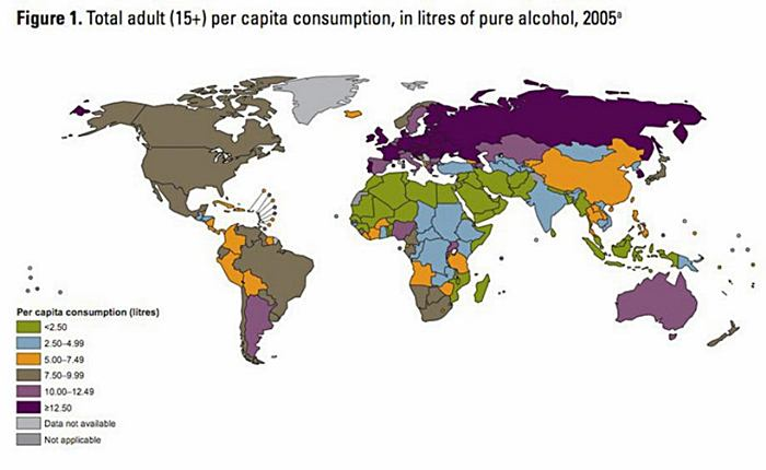 Map of Alcohol Consumption Around the World