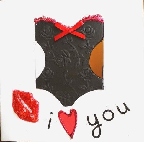 corsé y mensale I love You tarjeta San Valentín scrapbooking