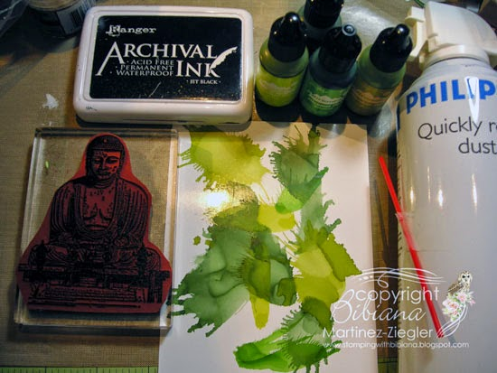 step 2 Zen card 50 shades of green alcohol inks
