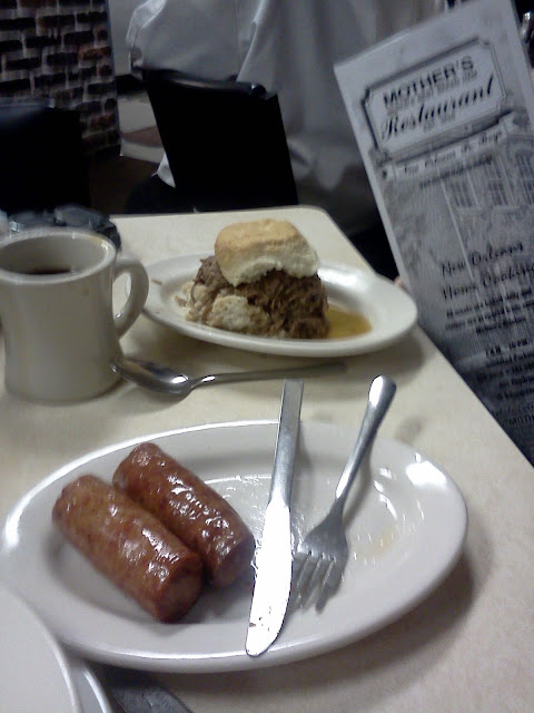 "Biscuits and ""Debris"" and Hot Sausage for breakfast at Mother's"