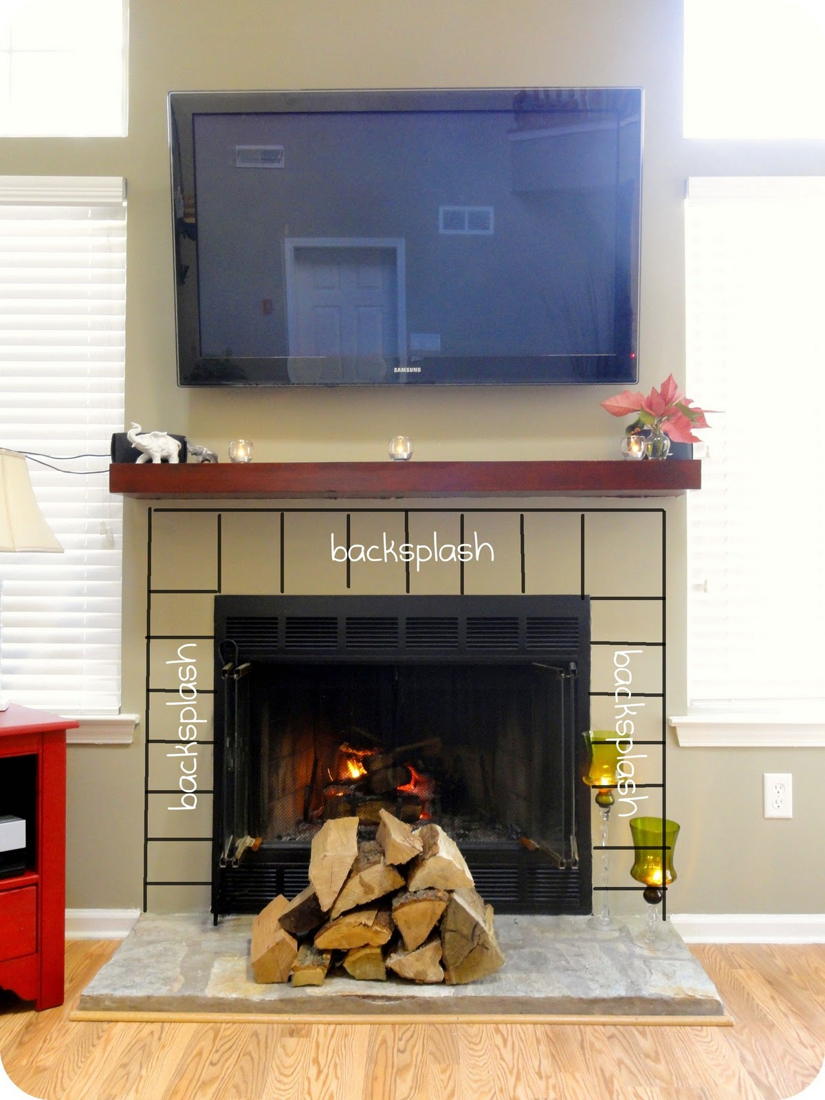 first home makeover updating a fireplace