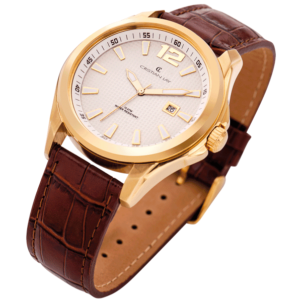 Montre avec bracelet en cuir et boitier en plaqué or , Prix  195 DT , REF 20290,9