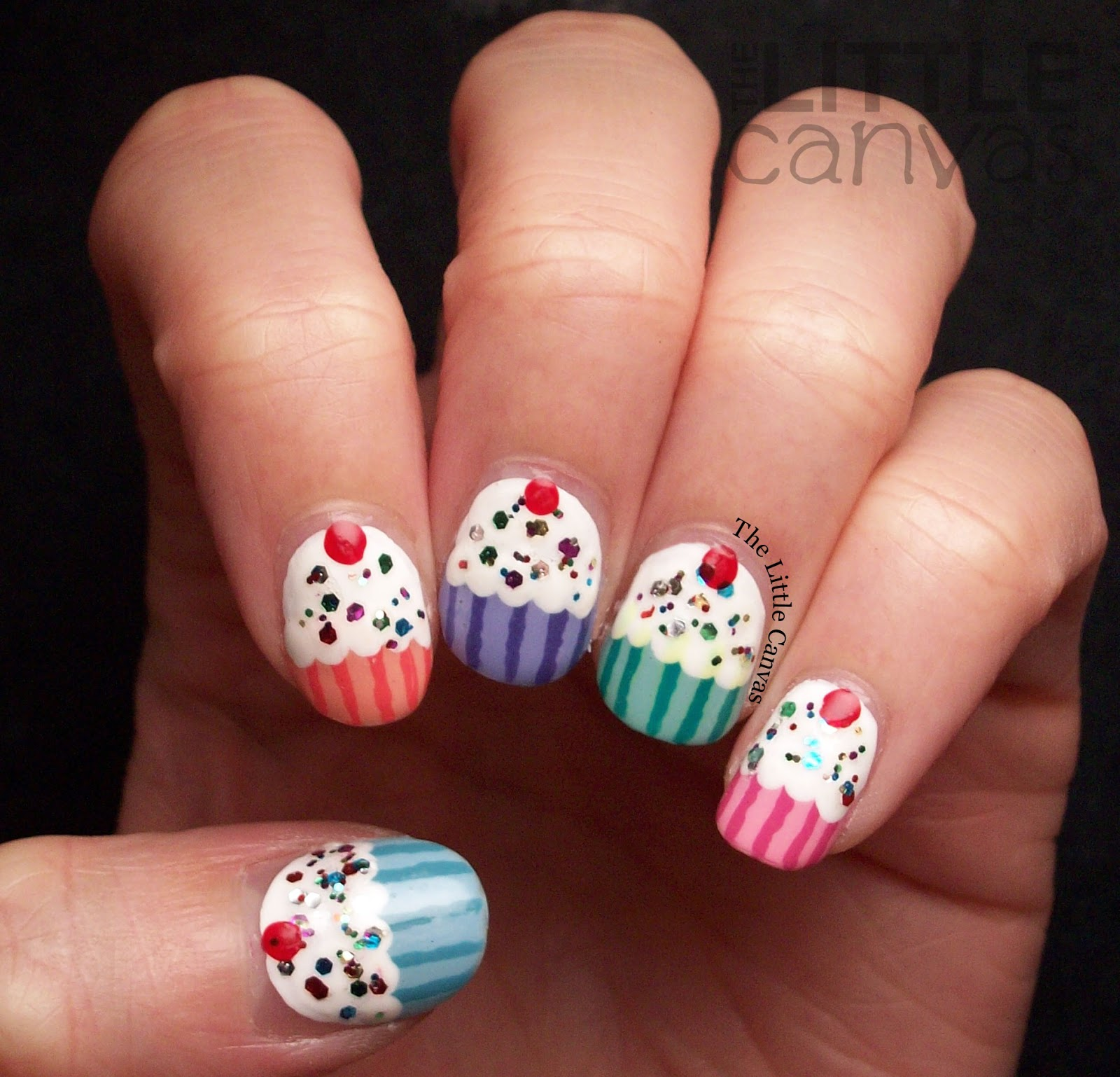 Birthday cupcake nail art the little canvas birthday cupcake nail art prinsesfo Choice Image