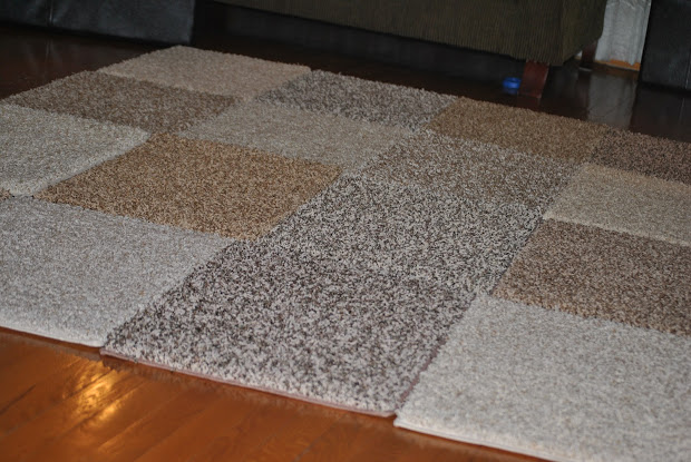 DIY Area Rug with Carpet Squares