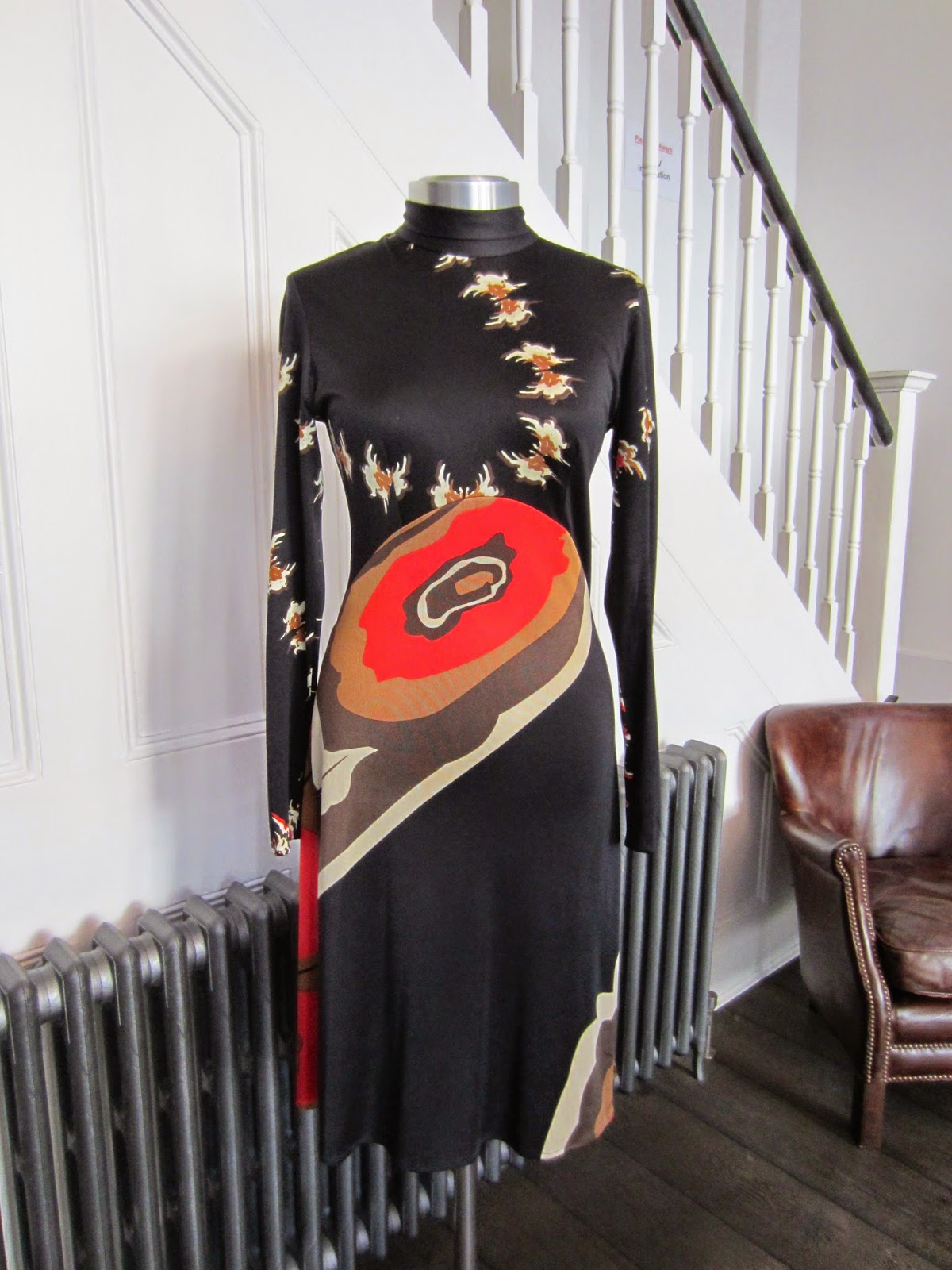 Issa Black & Orange Silk Halterneck Dress