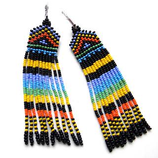 """Серьги """"Африка"""" - яркие этно-серьги из бисера с длинной бахромой"""
