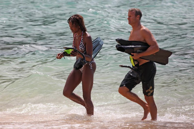Naomi Campbell in Bikini at a The Beach in Hawaii