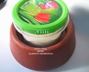 Iogurte Viili dentro do pote de barro