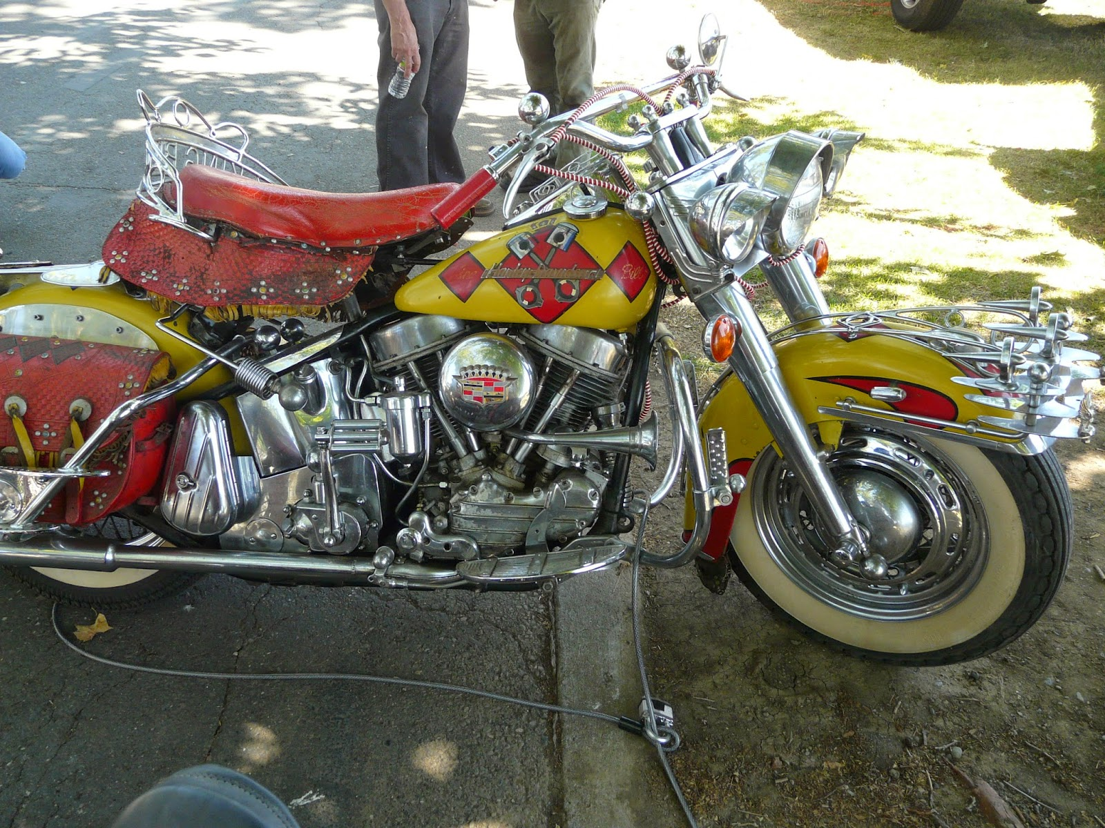 Heavily embellished Harley Panhead Motorcycle right side view