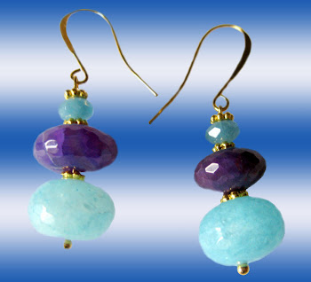 Violet Amethyst Teal Blue Agate Gemstones Dangle Earrings L