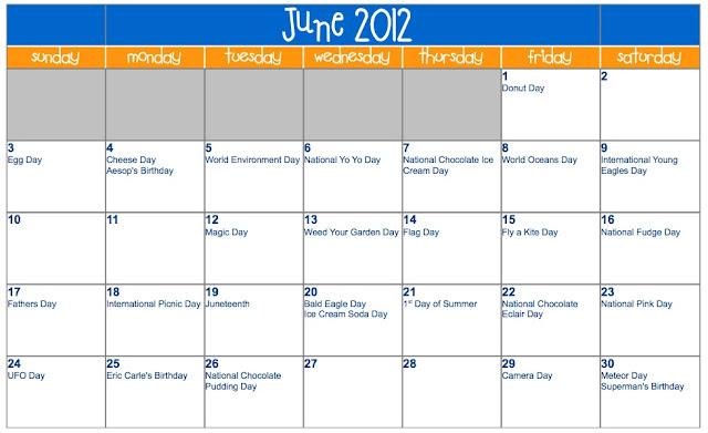 Calendar Craze June : Crazy calendar days just b use