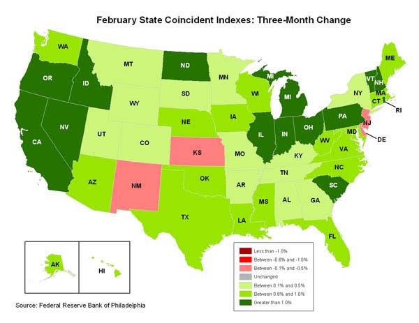 Philly Fed Coincident Index Map, February 2011
