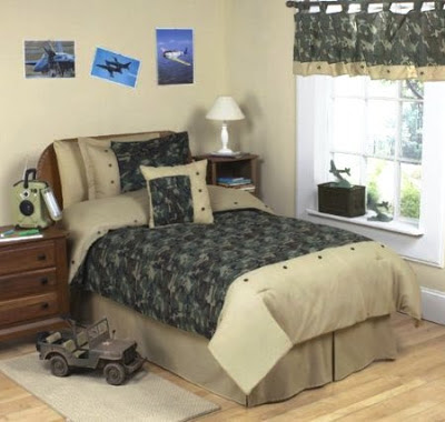 Bedroom decor ideas and designs army military camo themed for Camo bedroom ideas