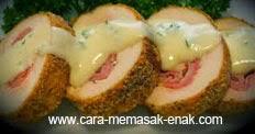 resep praktis dan mudah membuat (memasak) masakan khas prancis chicken cordon bleu spesial enak, lezat