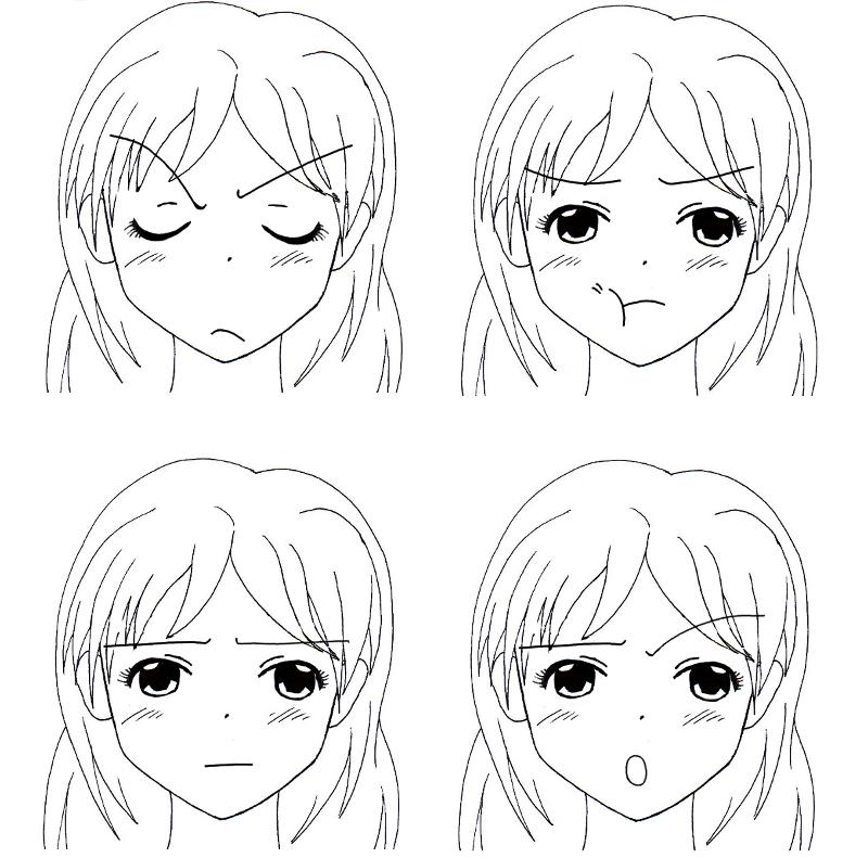 Apprendre a dessiner les expressions du visage - Fille facile a dessiner ...